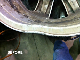 bent rim repairs - before